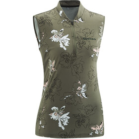 Gonso Dordona T-shirt de cyclisme sans manches avec zip pectoral Femme, brown/olive allover